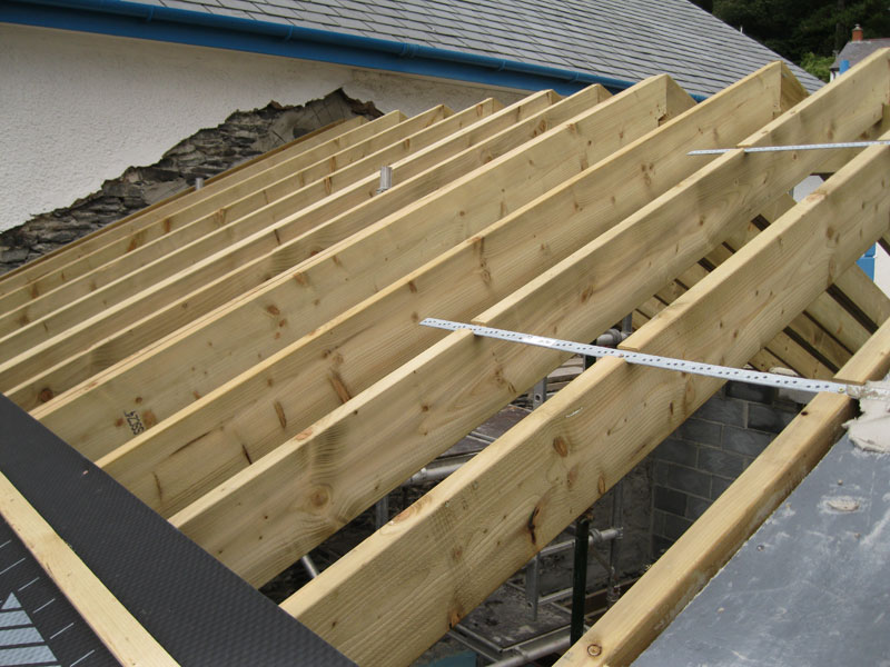 Installing new roof timbers